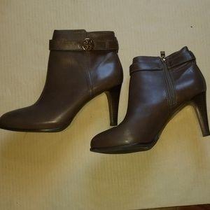 Brown Tory Burch heeled booties